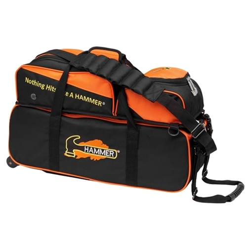 Hammer Triple Tote Bowling Bag With Pouch Black Orange