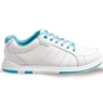 Brunswick Ladies Wide Width Satin Bowling Shoes- White/Aqua