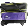 Brunswick Crown Double Roller Bowling Bag- Purple/Yellow