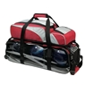Team Ebonite 3 Ball Roller Tote Bowling Bag- Silver/Red/Black