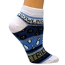 Ladies Bowling Theme Socks Blue by Master