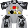 I Love Bowling T-Shirt with Bowling Sleeve Design