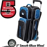 Team Brunswick 3 Ball Deluxe Roller Bowling Bag- Black/Cobalt