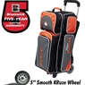 Team Brunswick 3 Ball Deluxe Roller Bowling Bag- Slate/Orange