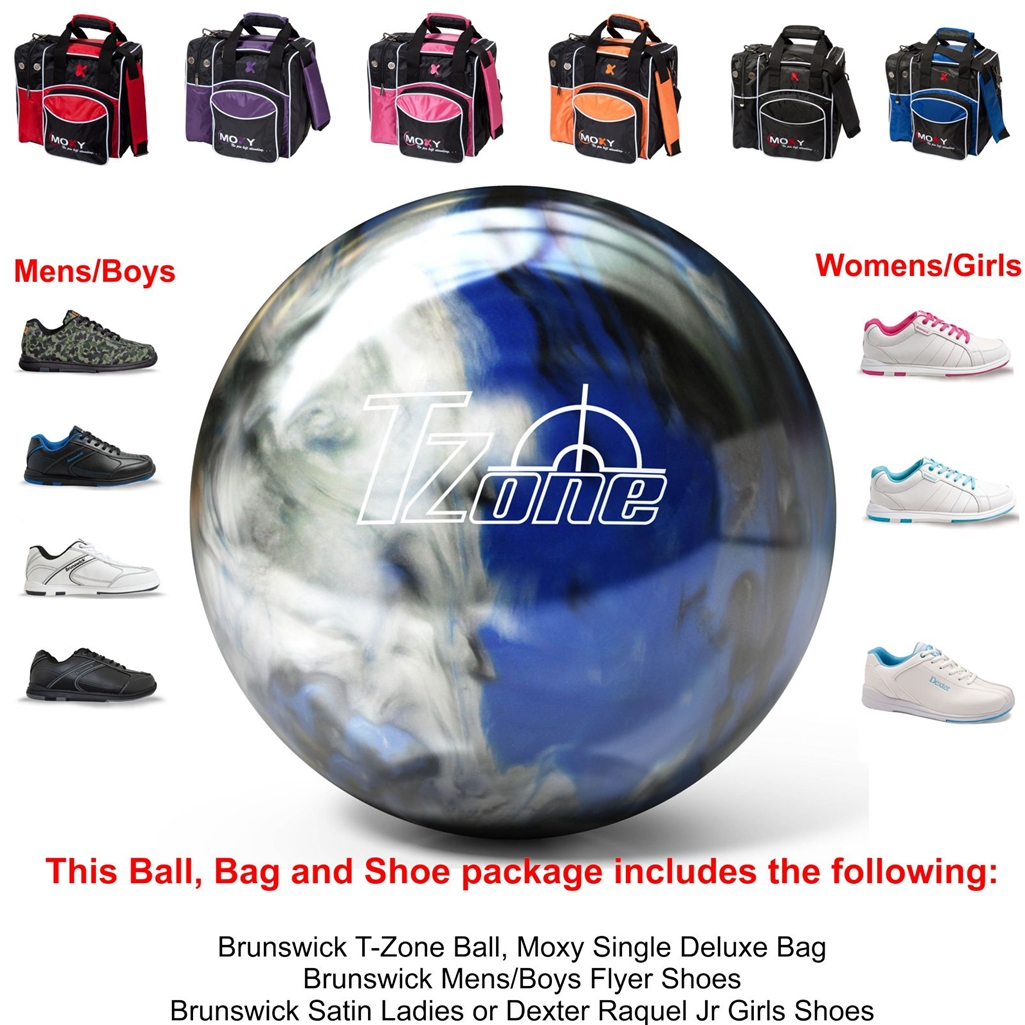 Brunswick T-Zone Indigo Swirl Bowling Ball, KR Strikeforce Shoe ...