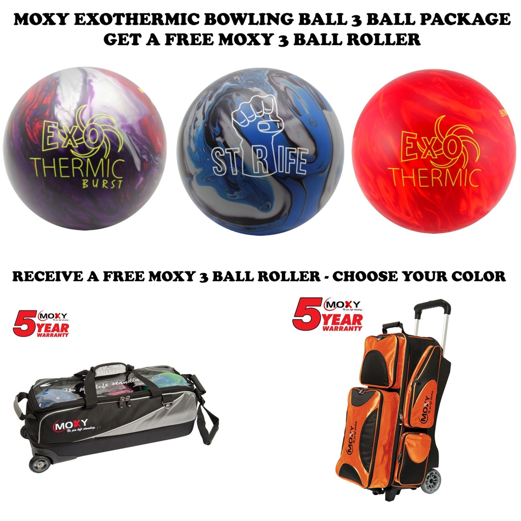 Moxy Bowling Ball Series 3 Ball Package- Exothermic-Exothermic Burst-STRIFE