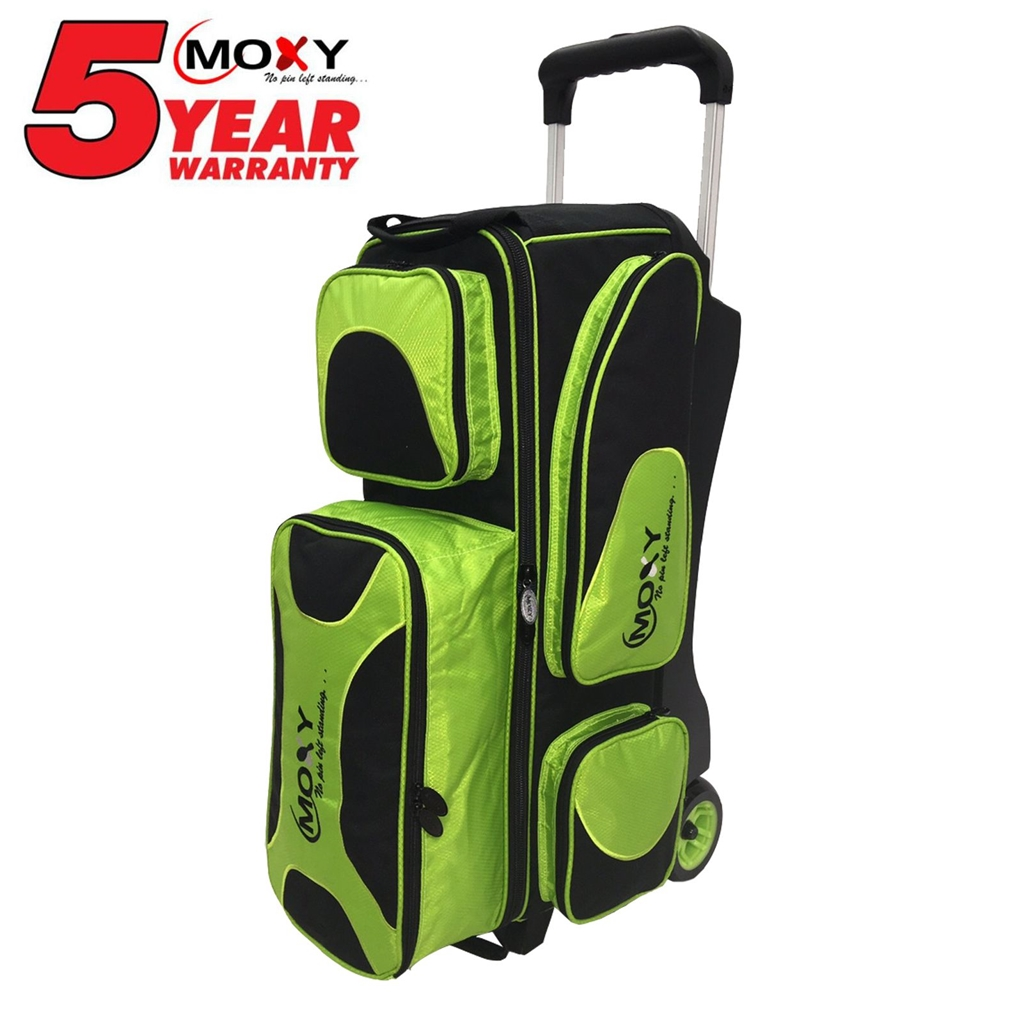 Moxy Deluxe Triple Roller Bowling Bag- Lime/Black