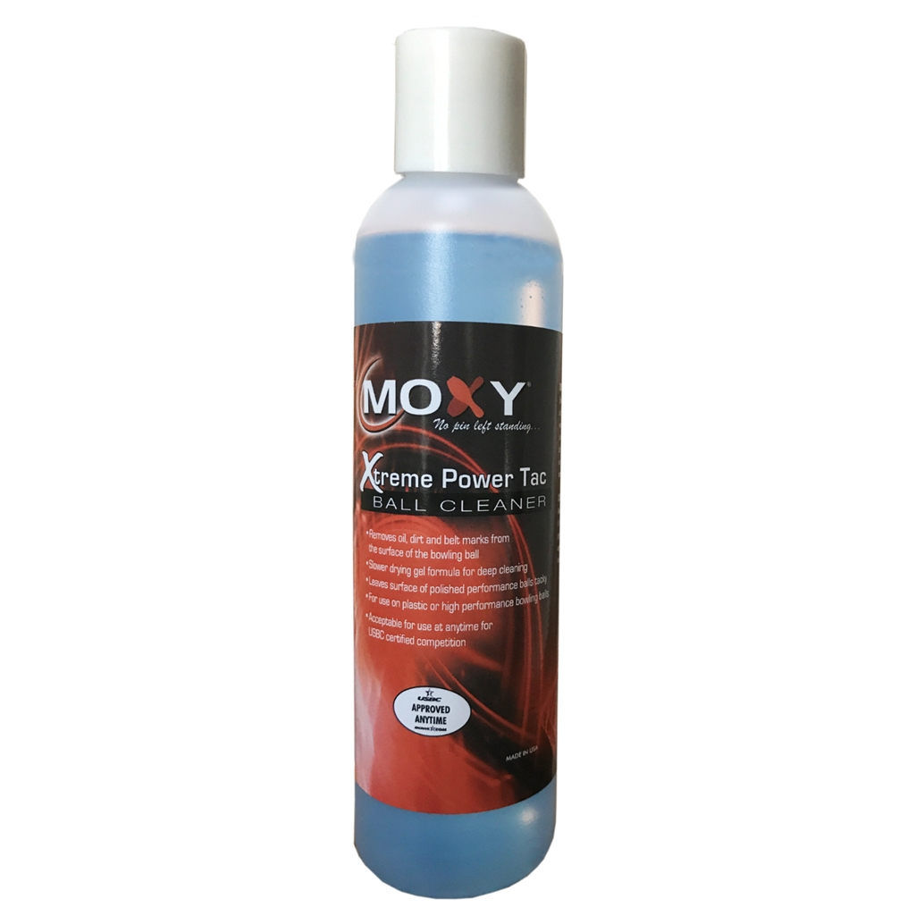 Moxy Xtreme Power Tac Ball Cleaner is USBC approved for use during competition. Helps increase backend motion of reactive bowling balls.