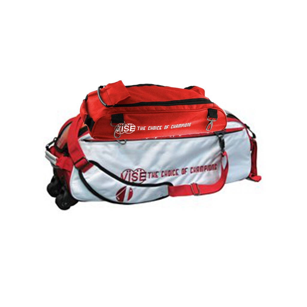 Vise Red 3 Ball Tote Bowling Bag WITH SHOE BAG