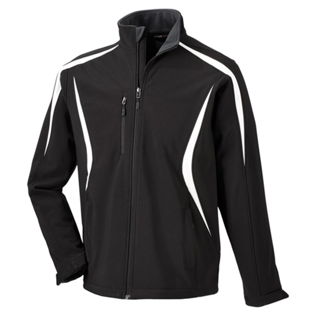 North End Sport Mens Color Block Soft Shell Jacket- Black/White