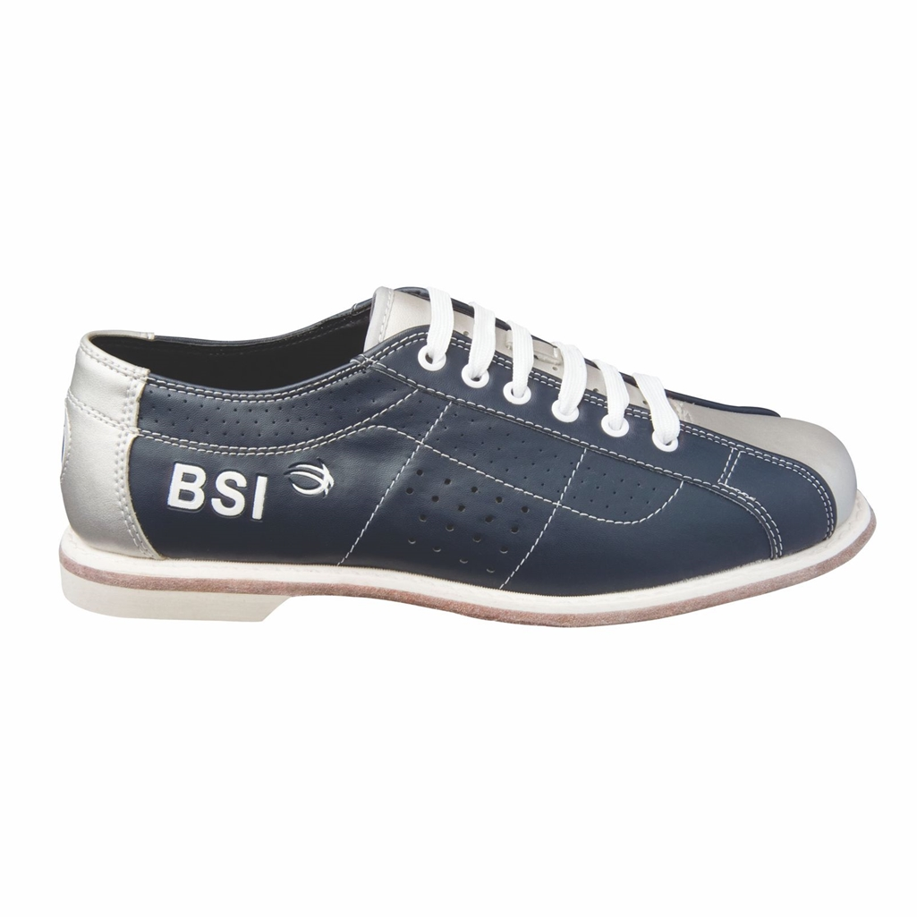 BSI Mens Leather Laced Rental Bowling Shoes- Blue/Silver