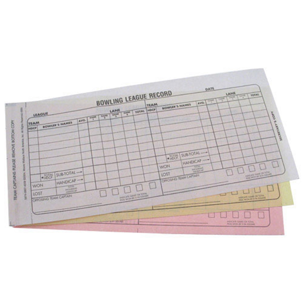 bowling team score book carbonless 3 part recap sheets With bowling recap sheet template