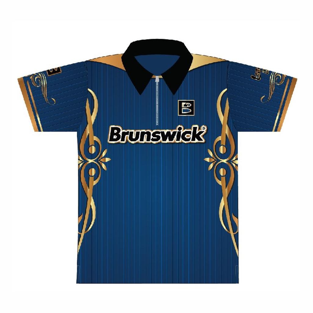 Brunswick Bowling Bluegold Dye Sublimated Jersey Free Shipping